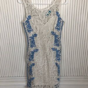 Lace Summer dress- shift- white and blue